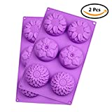 6-Cavity Silicone Flower Mold, 2pcs Non-Stick Gelatin, Ice Cube, Jelly, Biscuits, Chocolate, Cupcake, Baking Mold, Sunflower Shape Soap Mold