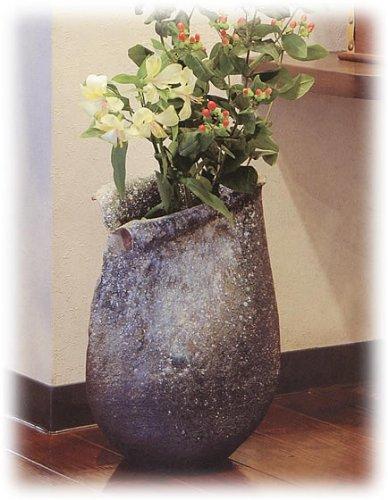 信楽焼陶器 花器 灰窯変しずく花入 12号 高さ35.0cm 7029-09 B00CUWSQ66