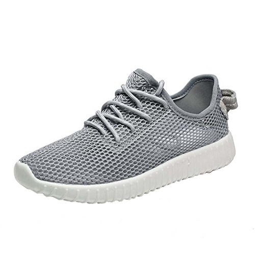 Angelliu Women Casual Hollow Mesh Sports Training Shoes Trainers Lace Up Grey JUNCAfHMvs