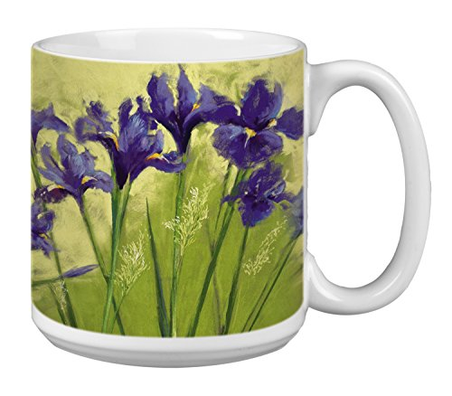 Flower Extra Large Mug, 20-Ounce Jumbo Ceramic Coffee Mug Cup, Irises On Green Nel Whatmore Art, Gift for Nature Lovers (XM29589) Tree-Free Greetings (Best Coffee In Mendocino)