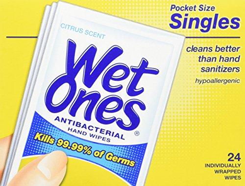 (Wet Ones Antibacterial Towelette Singles, Citrus Scent, 24 Ea, (Pack of 6))