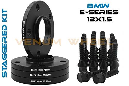 4 Pc Black BMW Staggered 12mm & 15mm Thick Hub Centric Wheel Spacers 5x120 (72.56 mm Hub Bore) + 20 Pc Black 12x1.5 Lug Bolts ()