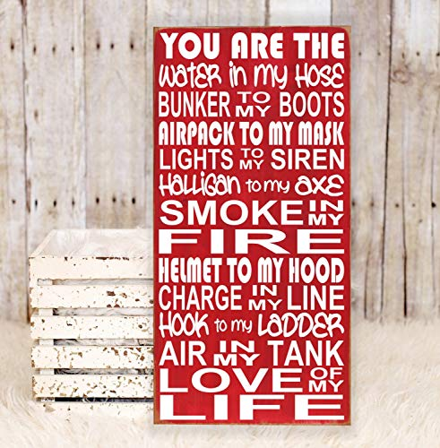 (Ruskin352 You are The Love of My Life Firefighter Plaque Wooden Subway Art Sign Firefighter Signs Fire Wedding Gift Fireman Gift Fireman Wedding)
