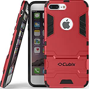 Quicksand Cubix Robot Case For Iphone 7 Plus Case Back Cover Warrior Hybrid Defender Bumper Shock Proof Case Armor Cover With Stand For Iphone 7 Plus Red