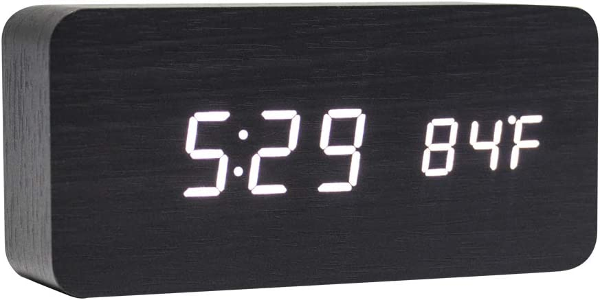 Lancoon Reloj Digital De Madera - Reloj Despertador Multifunción con Visualización De La Hora/Fecha/Temperatura Y Control De Voz para Viajes A La Oficina En El Hogar - AC11Black_White