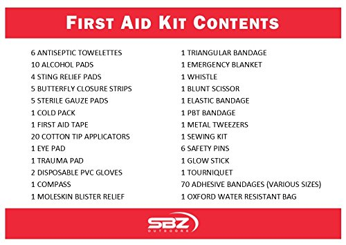 First Aid Kit (145 Pcs) by SBZ Outdoors|Complete 1st Aid Kit Supplies for your Vehicle, Home, Backpack, Car, Truck|The Ultimate Sports & Travel Set for any small Emergency, Camping & Hiking