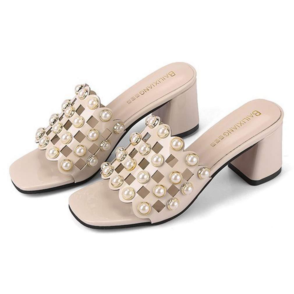 CYBLING Women's Peep Toe Chunky Block Heel Slippers Slide Sandals Cutout Mules Shoes Heeled Slipper