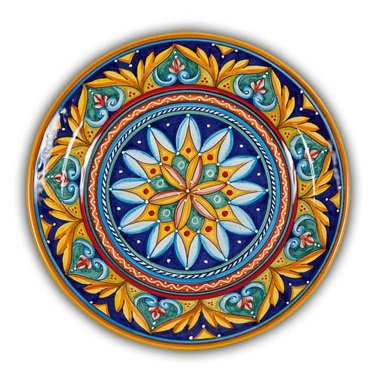Hand Painted Italian Ceramic Geometrico Charger D - Handmade in Deruta