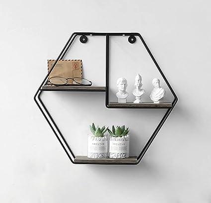 estantes flotantes Estante de pared hexagonal Restaurante ...