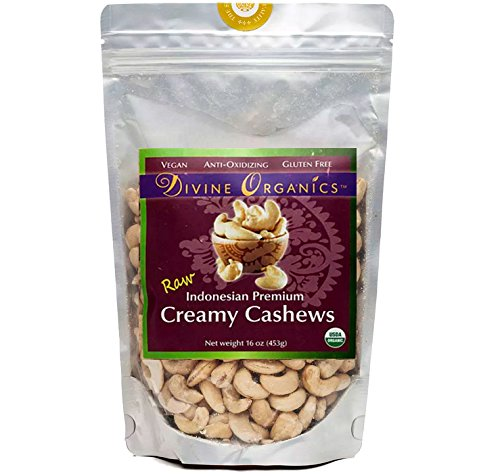 Divine Organics, 16oz Raw Indonesian Cashews by Divine Organics