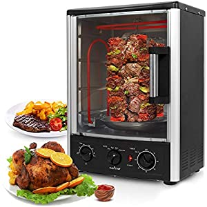 Nutrichef Upgraded Multi-Function Rotisserie Oven – Vertical Countertop Oven with Bake, Turkey Thanksgiving, Broil Roasting Kebab Rack with Adjustable Settings, 2 Shelves 1500 Watt – AZPKRT97
