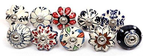 Glitknob 10 Knobs Black Blue Red Brown & White Hand Painted Ceramic Knobs Cabinet Drawer Pull