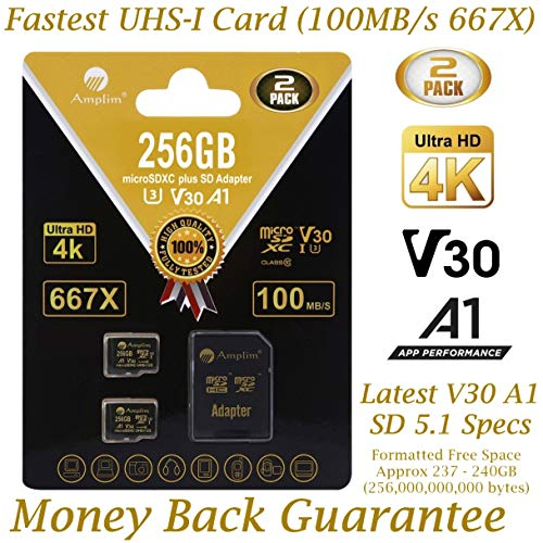 2-Pack 256GB Micro SD Card Plus Adapter - Amplim 256 GB MicroSD SDXC V30 A1 U3 Class 10 Ultra High Speed 100MB/s UHS-I TF XC MicroSDXC Memory Card for Cell Phone, Nintendo, Galaxy, Fire, Gopro Camera (Best Micro Sd For Kindle Fire)