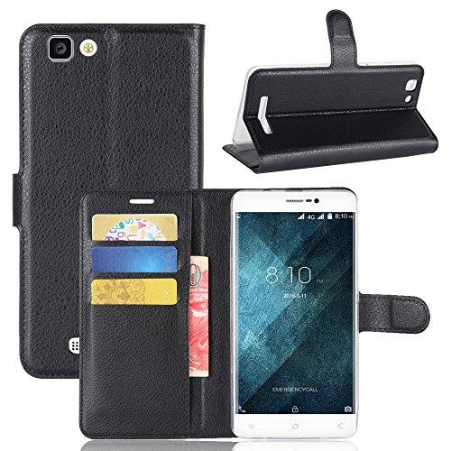 Lusee PU Caso de cuero sintético Funda para Blackview A8 MAX 5.5 pulgada Cubierta con funda de silicona azul negro