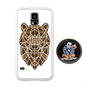 """Euclid+ -Bear Polygon Line 3D Animal Embossed Design Style Plastic+TPU Case Cover for Samsung Galaxy S5 with The Nightmare Before Christmas Style 2.3"""" inch Pinback Button Badge"""