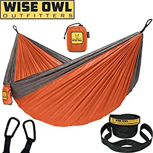 Wise Owl Outfitters Hammock for Camping Single & Double Hammocks Gear For The Outdoors Backpacking Survival or Travel - Portable Lightweight Parachute Nylon SO Orange & Grey