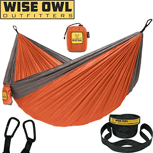 (Wise Owl Outfitters Hammock for Camping Single & Double Hammocks Gear For The Outdoors Backpacking Survival or Travel - Portable Lightweight Parachute Nylon SO Orange & Grey)