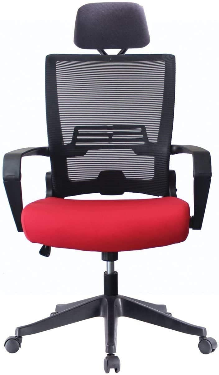 5 Minutes Completely Easy Installation Ergonomic Office Foldable Swivel Home Mesh Back Task Chair (Black/RED W/Head Rest)