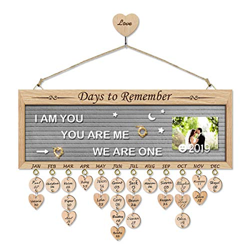 Airelon Gift for Wife, DIY Family Wood Frame Felt Letter Board Message Changeable Board Birthday Reminder Wooden Plaques Vintage Decoration Calendar Grandma Gifts Mothers Present (New DTR Grey) ()