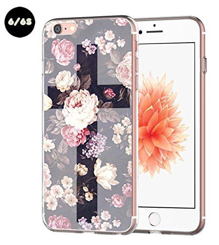 Casa Cross (Iphone 6S case floral silicone Apple Iphone 6 Case Cross Theme Art protective)