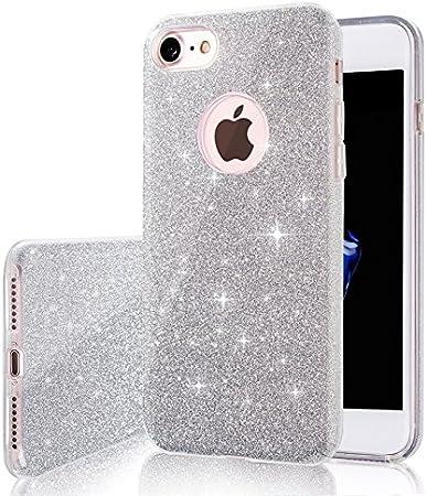 "Image ofCoovertify Funda Purpurina Brillante Plateada iPhone 8, Carcasa Resistente de Gel Silicona con Brillo Gris Plata para Apple iPhone 8 (4,7"")"
