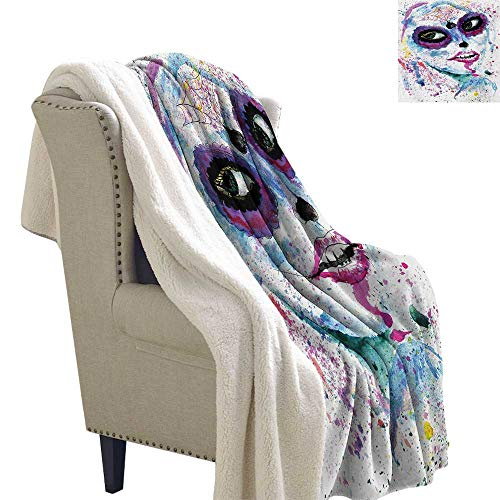 Girls Berber Fleece Blanket 60x78 Inch Grunge Halloween Lady with Sugar Skull Make Up Creepy Dead Face Gothic Woman Artsy Blanket for Sofa Couch Bed Blue Purple