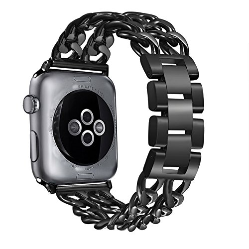 Secbolt Stainless Steel Bands for Apple Watch 38mm iWatch Strap Chain Replacement Wristband for Apple Watch Nike+, Series 3, Series 2, Series 1, Sport, Edition, Black