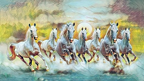 Seven Horses Painting With Frame For Vastu Fengshui Showing