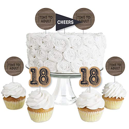 (18th Milestone Birthday - Time To Adult - Dessert Cupcake Toppers - Birthday Party Clear Treat Picks - Set of)