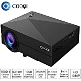COOQI Projector, TFT LCD Mini Portable Pocket Projector Support 1080P with Audio, AV, HDMI, SD Card Slot, USB, VGA for Home Theater Projector Black