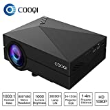 1080 Projector Screen - COOQI Projector, TFT LCD Mini Portable Pocket Projector Support 1080P with Audio, AV, HDMI, SD Card Slot, USB, VGA for Home Theater Projector Black