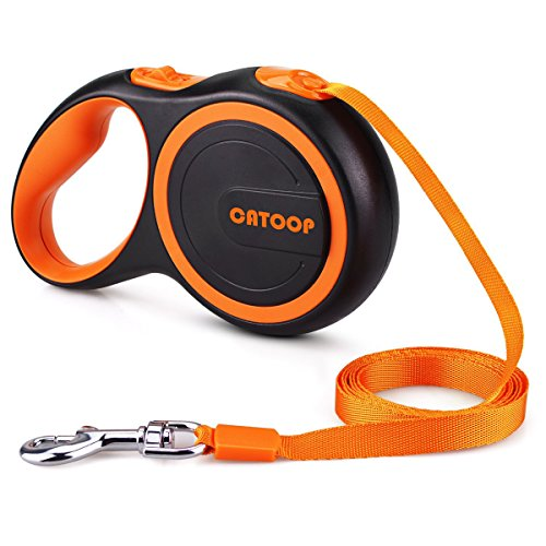 Dog Collar 16' Nylon (CATOOP Retractable Dog Leash, 360° Tangle-Free, Heavy Duty Pet Leash Dog With Anti-Slip Handle; 16 ft Strong Nylon Tape/Ribbon for Large Small Medium Dogs up to 110 lbs; One-Handed Brake, Pause, Lock)