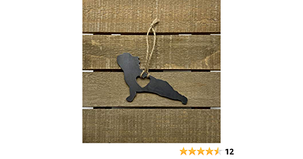 French bulldog heart Metal Ornament with Heart Raw Steel Decoration Love Camping Camp Explore