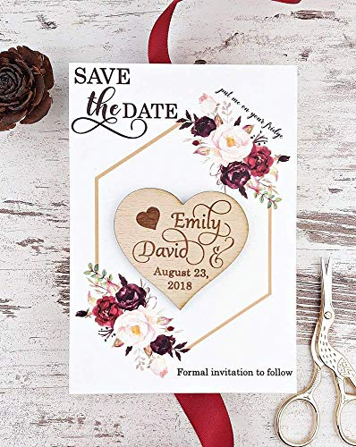 Burgundy Save The Date Card, Heart Wedding Save The Date Magnet, Rustic Save The Date Card, Wood Save The Date, Rustic Magnet Set of - Hearts Wedding Magnets