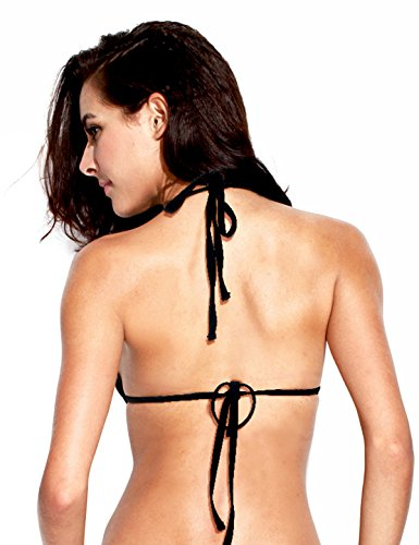 RELLECIGA Women Triangle Push-up Molded Paddings Halter Bikini Top M Black