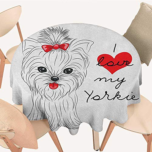 longbuyer Yorkie Christmas Tablecloth I Love My Yorkie Cute Terrier with its Tounge Out Adorable Yorkshire Terrier Round Tablecloth D 60