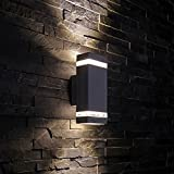 Ragdoll50 1 Pack Outdoor Wall Lights, Rectangle Up/Down LED Wall Lamp Aisle Landscape Tempered Glass Dust-proof Garden Outdoor Waterproof Wall Light(Black)