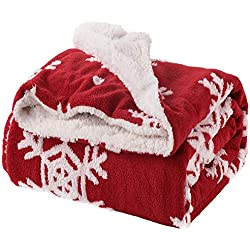 "Bedsure Christmas Throw Blanket Jacquard Shu Velveteen Throw with Snowflakes Soft Cozy and Warm Sofa Blanket, 60"" x 80"" Red/White"