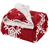 Bedsure Christmas Throw Blanket Jacquard Shu Velveteen Throw with Snowflakes Soft Cozy and Warm Sofa Blanket, 60