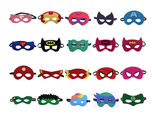 Superheroes Party Masks for Children- 20 pack Superhero Masks- Perfect for Children Aged (Teenage Party Games Halloween)