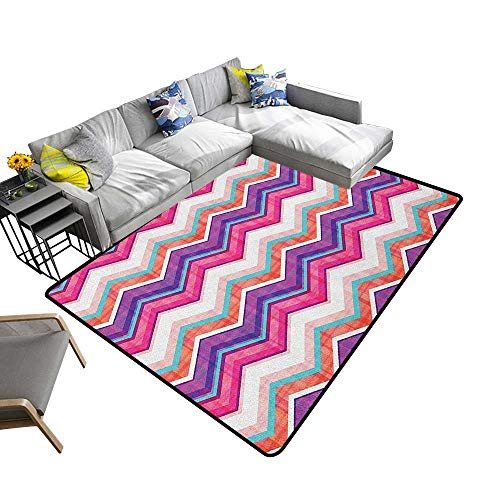 Chevron Home Custom Floor mat Chevron Motifs with Variable Angles Parallel Lines Groovy Artwork 78