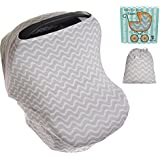 Koala Little Stretchy 4 in 1 Car Seat Canopy Nursing Breastfeeding Cover, Grey and White