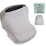 restaurant baby sling - Koala Little Stretchy 4 in 1 Car Seat Canopy Nursing Breastfeeding Cover, Grey and White