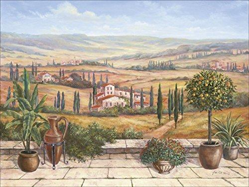Artland Qualitätsbilder I Bild auf Leinwand Leinwandbilder A. Heins Terrasse in der Toskana Landschaften Europa Italien Malerei Braun D1UD