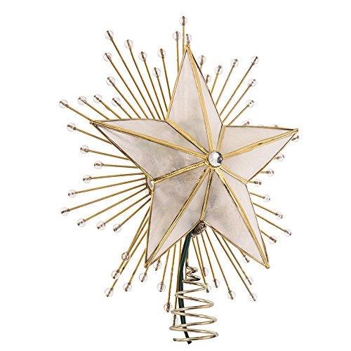 Kurt Adler 10-Inch 5-Point Capiz Star Treetop with Rays and Beads by Kurt Adler