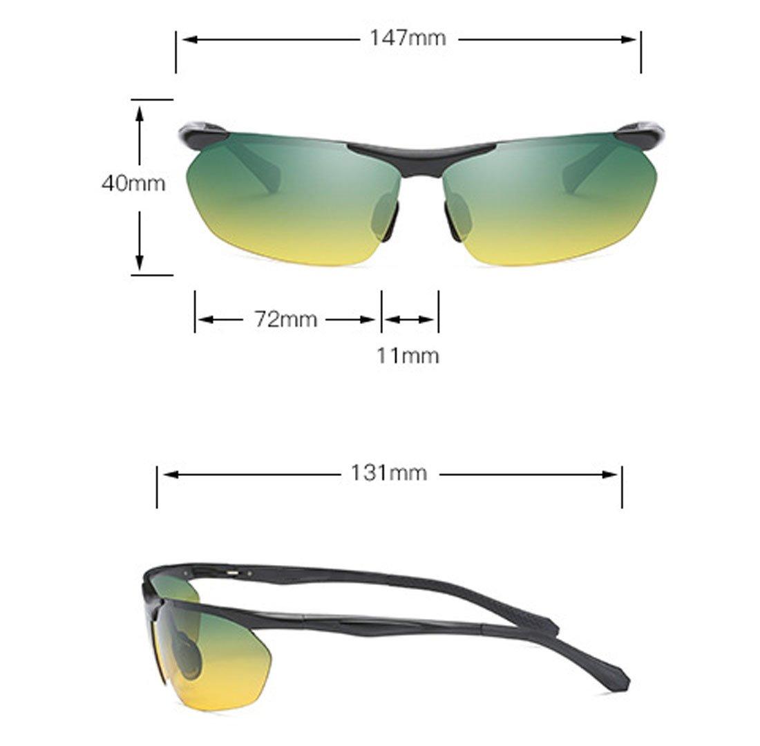 QQBL Resina De Hombre Aluminio-Magnesio UV400 Perspectiva De Luz Visible 99 (%) Deporte Día Y Noche Gafas De Sol De Conducción Polarizadas Dobles,Black: ...