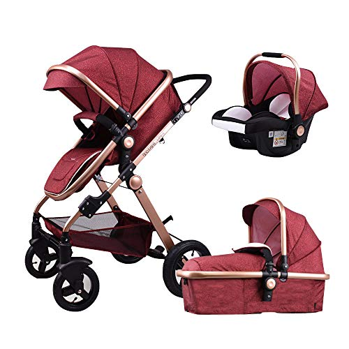 Baby Stroller,Babyfond-T900 3in1 Folding Baby Carriage Travel System Pram Shockproof Pushchair with Lightweight Sleeping Basket,Joggers Pram for Newborn (Red)