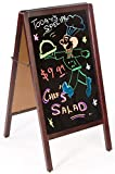 "Write-on Sidewalk Sign, Double-Sided Blackboard Stand with 17-1/2""w x 28-1/2""h Writing Surface for Chalk – Mahogany Wood Frame"