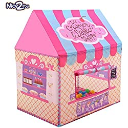 Nice2You Kid Play Tent Candy Castle with Carrying Bag for Girls Boys Playhouse for Children Indoor Outdoor
