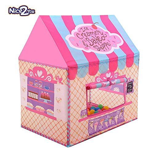 Nice2you Kid Play Tent Candy Castle with Carrying Bag for Girls Boys Playhouse for Children Indoor Outdoor (Pink)